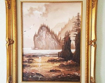 Original Everett Woodson Signed Seacliff Seagull Framed Canvas Oil Painting