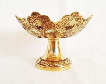 Penco Industries Brass Stem Cutout Enameled Floral Design Table Bowl Dish