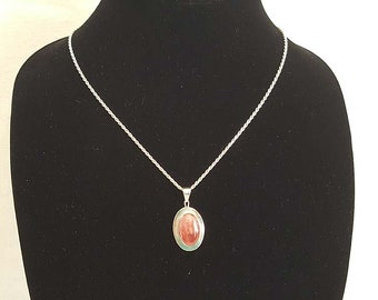 Cherry Quartz Solid Silver Rope Chain And Pendant