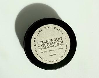 Natural Deodorant in Eco Friendly Tin   Grapefruit + Geranium, Aluminum Free, No Baking Soda, Vegan + Zero Waste Deodorant, Sensitive Skin