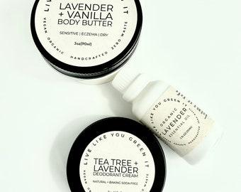 Lavender Lovers Gift Set   Zero Waste Gift Box   Body Butter, Deodorant, Oil + Bath Bomb