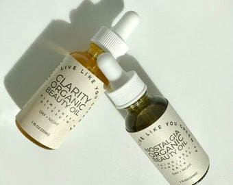 Acne + Anti-Aging Face Oil Beauty Box- Skincare Set, Day + Night Face Moisturizer, Zero Waste Skincare, Zero Waste Gift