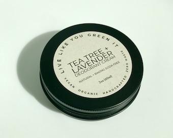 Natural Deodorant in Eco-Friendly Packaging - Vegan   Tea Tree + Lavender   Zero Waste Deodorant   Plastic Free   No Baking Soda