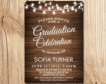 Graduation Invitation, Graduation Party Invitation, Rustic Graduation Announcement, Printable,  wooden, Graduation Invite