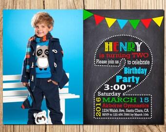 2nd Birthday Invitation Boy Halkboard SECOND BIRTHDAY INVITATION Invitations Second Chalkboard