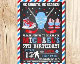 Hockey Invitation, Hockey Birthday Invitations, Hockey Birthday, Hockey Party,  Hockey Party Invitation, Hockey