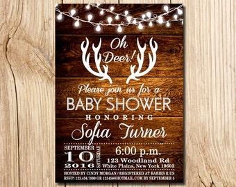 Deer Baby Shower Invitation, Oh Deer, Rustic Baby Shower Invitation, Rustic Antlers Baby Shower Invitation, Deer, Baby Shower