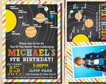 Solar System Birthday Invitation, Space Birthday Printable Invitation,  Solar System Party Invites, Out of This World Birthday, Solar System