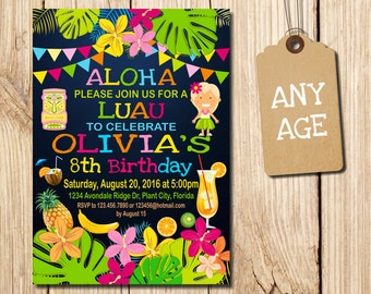 LUAU INVITATION, Luau, Aloha, Luau Party, Luau Birthday Invitation, Aloha Birthday Invitation, Luau Invitation, Pineapple, Summer,