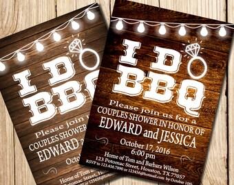 I DO BBQ Invitation,  Couples Shower Invitation, Printable Couples Shower Invitation, Couples Shower Invitation,  I Do BBQ, wood