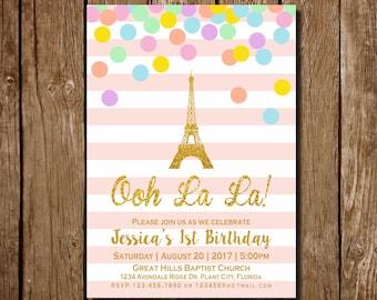 Paris Birthday Invitation, Paris Invitation, Paris Birthday, Eiffel Tower Invitation, Eiffel Tower  Birthday Invitation, Paris Invitation