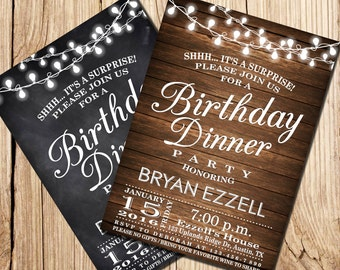 Elegant birthday dinner invitation dinner party invitation birthday dinner invitation birthday dinner party surprise birthday invitation wooden chalkboard party printable birthday invitation stopboris Choice Image