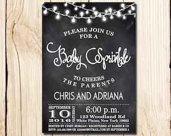 Baby Sprinkle Invitation, Rustic Baby Sprinkle Invitation, Baby Boy Sprinkle Invitation, Chalkboard