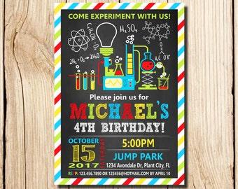 Science Invitation, Science Experiment Birthday Invitation, Science Birthday Party Invitation, Science Party, experiment, beakers