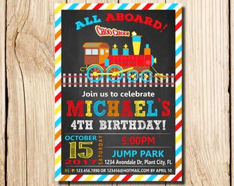 TRAIN INVITATION, Train Birthday Invitation, Train Birthday Party, Blue, Red, Train Party, chalkboard, 2nd birthday invitation