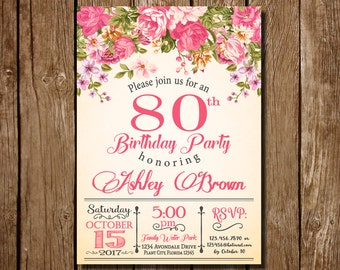 80th Birthday Invitation For Women Floral Party Womens Roses