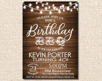Birthday BBQ, Birthday BBQ Invitation, Chalkboard Birthday BBQ Invitation, Rustic Wood Birthday bbq  Invitation, Printable