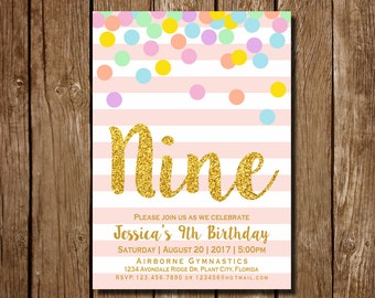 Girl 9th Birthday Invitation Pink And Gold Ninth Rainbow