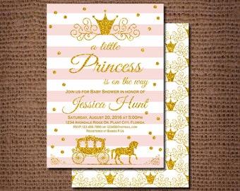 Little Princess Baby Shower Invitation, pink and gold, baby shower invitations,  Princess Baby Shower Invitation, Princess Baby Shower