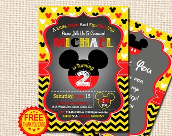 Mickey Mouse Invitation 2nd Birthday Instant Download Red Yellow