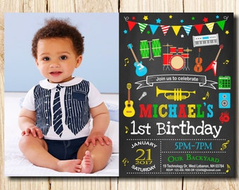 Music invitations etsy music birthday invitation with photo first birthday instruments music party guitar microphone any age kids music birthday invitation filmwisefo