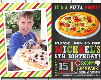 Pizza Party Invitation, with photo, Pizza Invitation, School Pizza Party, Pizza Party Invitation with photo, boy pizza birthday, Pizza