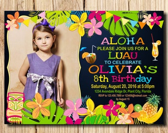 LUAU INVITATION,  with photo Luau, Aloha, Luau Party, Luau Birthday, Aloha Birthday Invitation, Luau Invitation, Pineapple, Summer,
