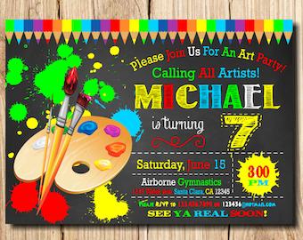 ART PARTY INVITATION, Art Birthday Party Invitation, Art Birthday Invitation, Printable Art party invitation, Kids' birthday invitations