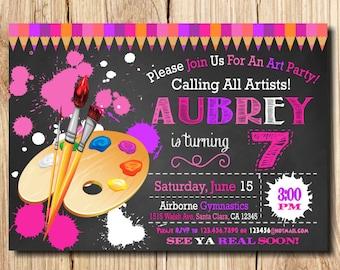 Art Birthday Party Invitation, Art Party Invitation, Art Birthday Invitation, Printable Art party invitation, Kids' birthday invitations