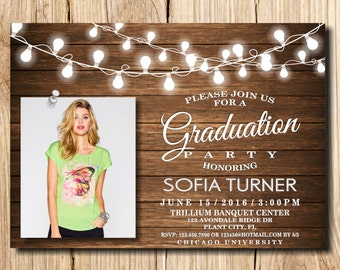 Graduation Invitation, Graduation Party Invitation, Rustic Graduation Announcement, Printable, with photo, wooden, Graduation Invite