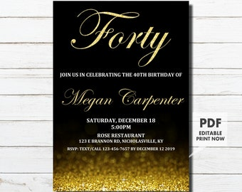 40th Birthday Invitation For Her Gold Instant Download Woman Surprise Forty Printable