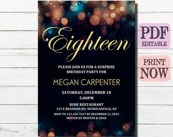18th Birthday Invitation Eighteenth Invites Instant Download Gold Party Eighteen