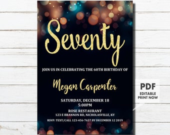 70th Birthday Invitation For Her Gold Instant Download Woman Surprise Seventy
