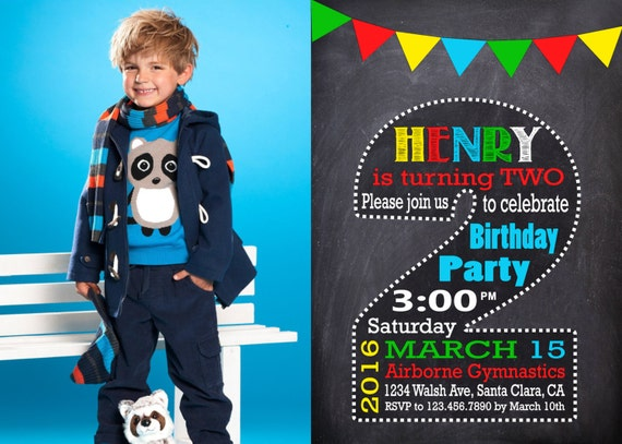 2nd Birthday Invitation Boy Halkboard SECOND BIRTHDAY
