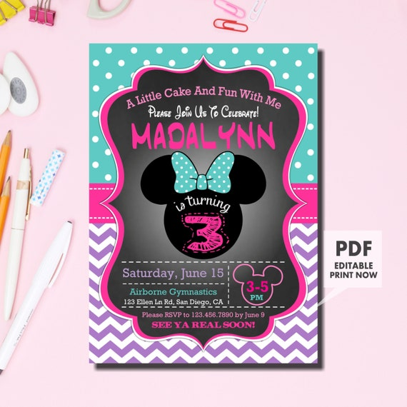 MINNIE MOUSE INVITATION 3rd Birthday Invitation Minnie Mouse