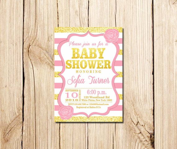 Pink and gold baby shower invitation pink white gold pink etsy image 0 filmwisefo