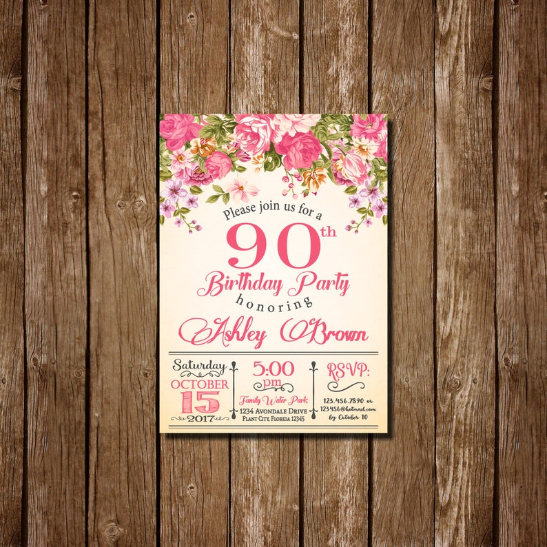 90th Birthday Invitation For Women