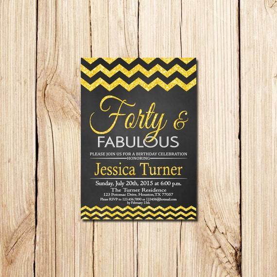 Forty and fabulous 40th birthday invitation for woman 40th etsy image 0 filmwisefo