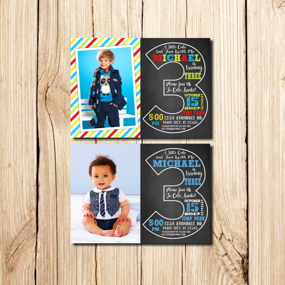 3rd Birthday Invitation With Picture Third