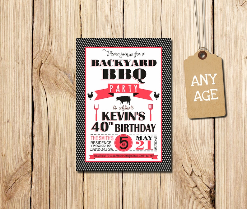 30th 40th 50th 60th Birthday Invitation Backyard Bbq