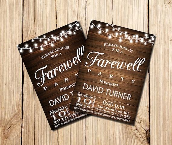farewell party invitation farewell invitation rustic  etsy