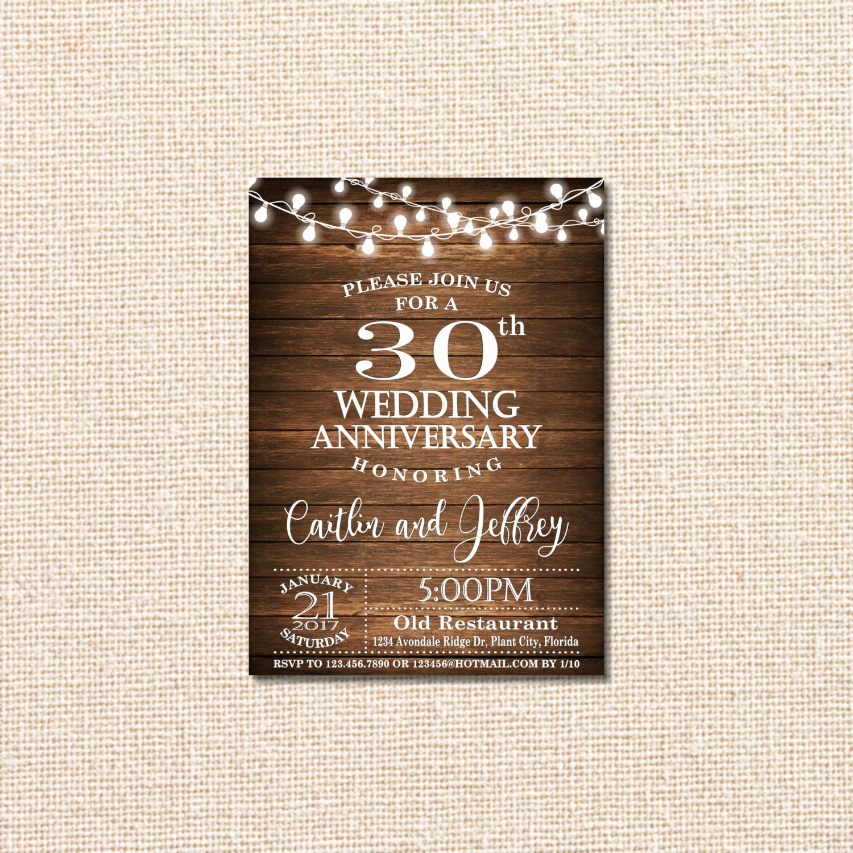 30th Wedding Anniversary Invitations: Wedding Anniversary Invitation 30th Anniversary Invitation