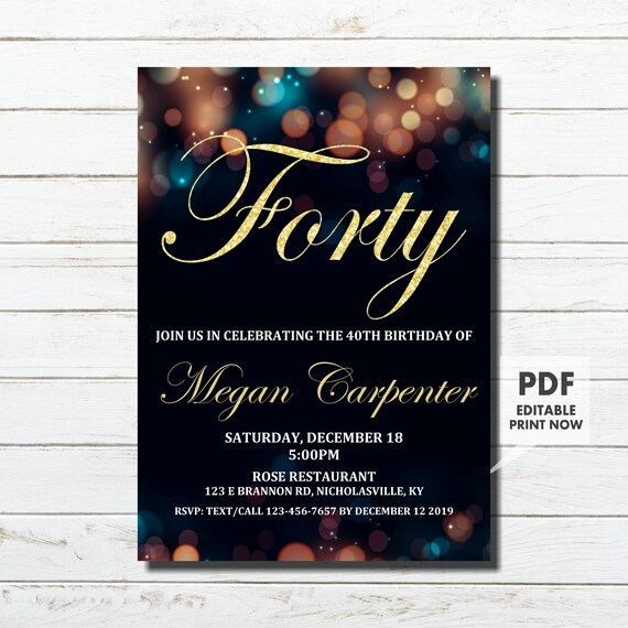 40th Birthday Invitation For Her Gold Instant