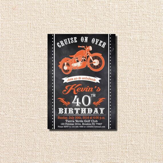 Motocykl Motocykl Urodziny Zaproszenie Motocykl Urodziny Etsy