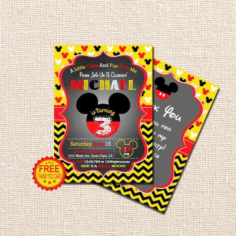 Mickey Mouse Invitation 3rd Birthday