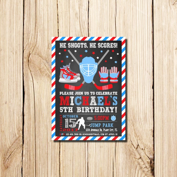 Hockey Invitation Hockey Birthday Invitations Hockey