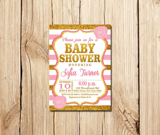 Pink And Gold Baby Shower Invitation Pink White Gold Pink Etsy
