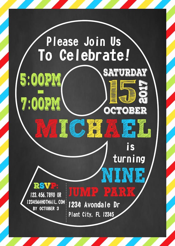 9th Birthday Invitation Ninth Boy