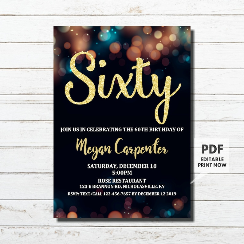 60th Birthday Invitation For Her Gold Instant