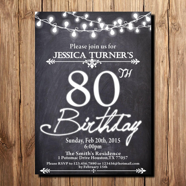80th Birthday Invitation Chalkboard Black